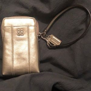 Gold Coach Phone Wristlet with Removable Strap